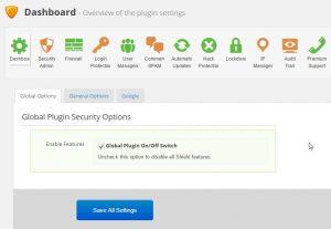 Dashboard - Shield op WordPress Sitebouw
