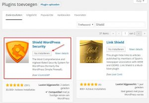 Shield WordPress Security Plugin zoeken en installeren