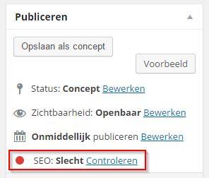 WordPress SEO Slechte score