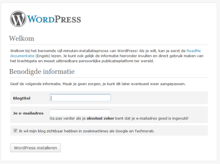 Blognaam en email invullen