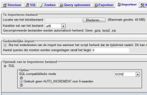 WordPress mysql import met PhpMyAdmin