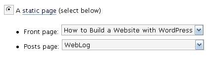 Pagina en WordPress Blog settings