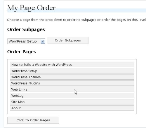 My Page Order Plugin