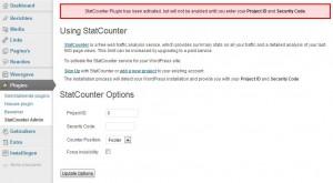 statcounter admin instellen