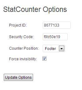 statcounter admin opties instellen