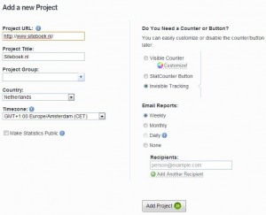 statcounter project instellen