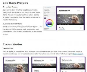 WordPress 3.4 Thema Preview Overzicht melding