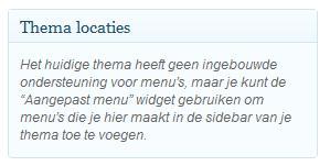 WordPress Menu Locaties
