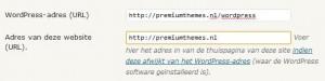 WordPress Algemeen URL instellen
