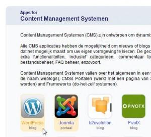 Selecteer WordPress om te installeren