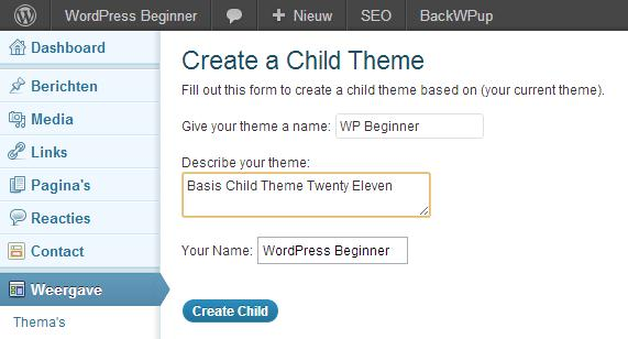 WordPress Child Thema maken
